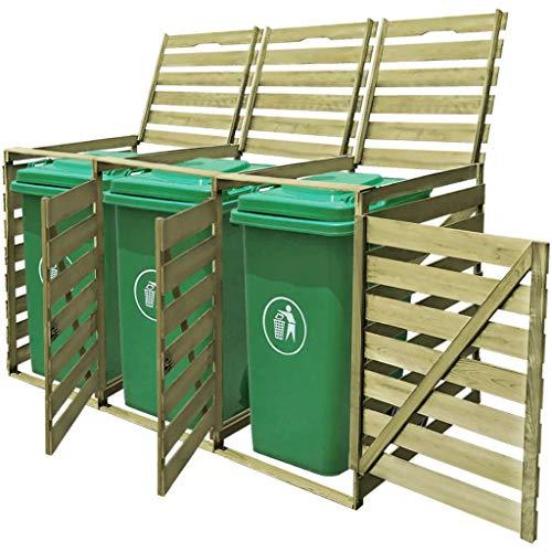 mewmewcat Wooden Wheelie Bin Shed Household Council Outdoor Waste Shed Triple 218,3 x 92 x 120 cm 3 x 240 L