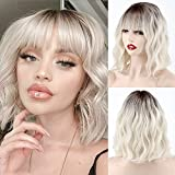MISSQUEEN Short Platinum Blonde Ombre Wavy Wig with Bangs,Short White Blonde Wig Dark Roots for Women,Middle Part Wigs Natural Looking for Daily Use