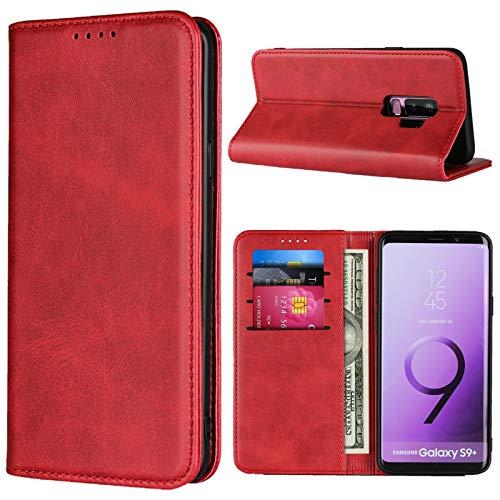 SunYoo Funda tipo libro para Samsung Galaxy S9 Plus, con ranuras para tarjetas y cierre magnético y funda de piel suave para Samsung Galaxy S9 Plus (6,2 pulgadas), color rojo vino