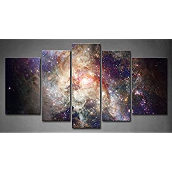5 Panel Galaxy Wall Art Star Field In Space And A Nebulae Painting The Picture Print On Canvas Abstract Pictures For Home Decor Decoration Gift Stretched Ready To Hang