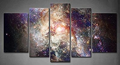 5 Panel Wall Art Star Field in Space and A Nebulae Painting The Picture Print On Canvas Abstract Pictures for Home Decor Decoration Gift Piece (Stretched by Wooden Frame,Ready to Hang)