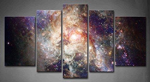 First Wall Art - Espacio Cuadros en Lienzo Nebulosa Colorida Abstracta en el Universo Púrpura Decoracion de Pared 5 Piezas Modernos Mural Fotos para Salon,Dormitorio,Baño,Comedor
