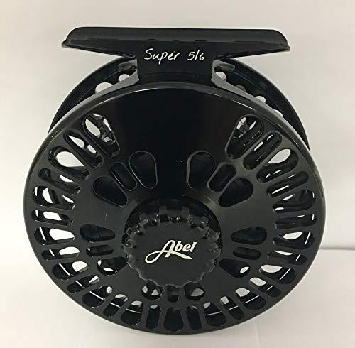 ABEL Super 5/6 Black Fly Reel with Black Drag Knob and Zebra Handle....
