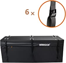MARKSIGN 100% Waterproof Hitch Carrier Cargo Bag 58'' x 19'' x 23'' (15 Cu Ft), Waterproof Zipper and Rain Flap, 6 Lashing Straps with Cam Buckles