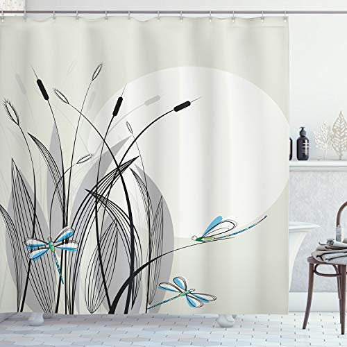 Ambesonne Dragonfly Shower Curtain, Dragonflies on Flowers and Branches Flourishing Nature Spring Time Predator Print, Cloth Fabric Bathroom Decor Set with Hooks, 70' Long, Beige Black