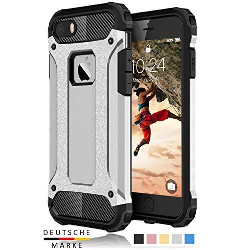 BYONDCASE iPhone SE / 5s / 5 Panzer Outdoor Case Hülle Ultra Slim Komplettschutz [Hybrid TPU Silikon Hardcase] Handyhülle in Silber Rundumschutz komplett kompatibel für iPhone SE / 5s Handy