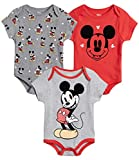 Disney Baby Boys 3 Pack Bodysuits - Mickey Mouse & Friends (Newborn), Size 6-9 Months, Mickey Red/Grey