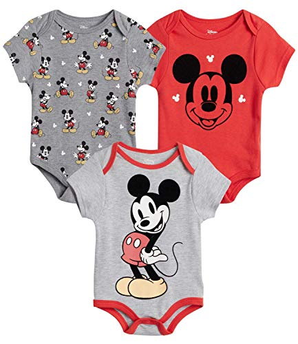 Disney Baby Boys 3 Pack Bodysuits - Mickey Mouse & Friends (Newborn), Size 18 Months, Mickey Red/Grey