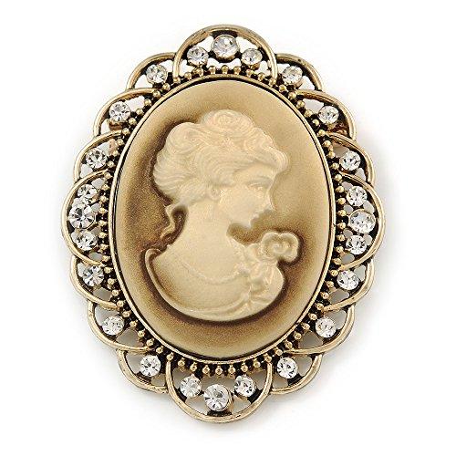 Avalaya - Broche para bufanda, diseño de camafeo con diamantes en tono dorado, 57 mm de ancho
