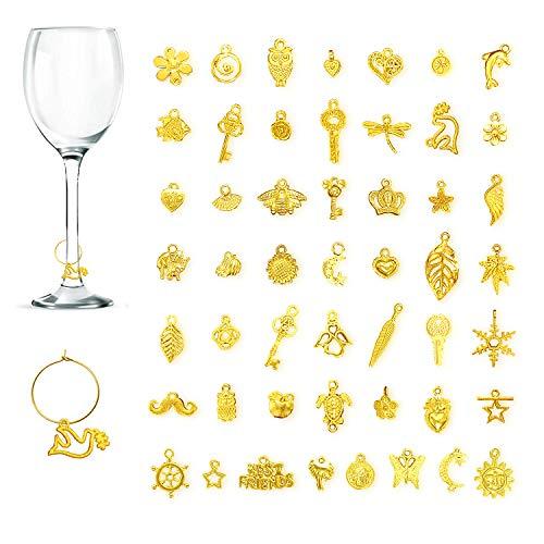 CNYMANY, 50 ciondoli per bicchieri da vino, etichette per bicchieri di vino, cocktail, champagne, degustazione e decorazione regalo - oro
