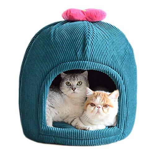 Busirsiz Tienda de Mascotas, la litera Cerrado de Gato Cactus Inicio de la Perrera del otoño y del Invierno del Viento Refugio Camas de Animales domésticos Pana Dirty Cat House multifunción de Cuatro