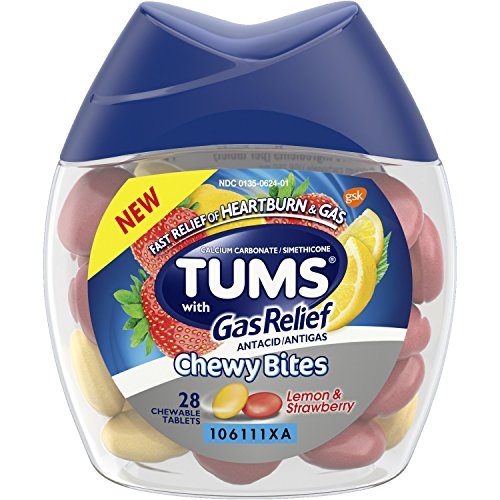 Tums Chewy Bites Antacid with Gas Relief, Lemon and Strawberry flavor, fast relief from gas and heartburn - 28 Chewable Tablets