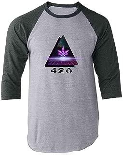 Pop Threads 420 Retro 80s Lasers Marijuana Pot Raglan Baseball Tee Shirt