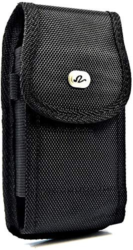 Heavy Duty Extra Large Vertical Smart Phone Case/Pouch/Holster with Belt Loop, Belt Clip and Hook-and-Loop Fastener, 5.75 x 3 x 0.75 Black