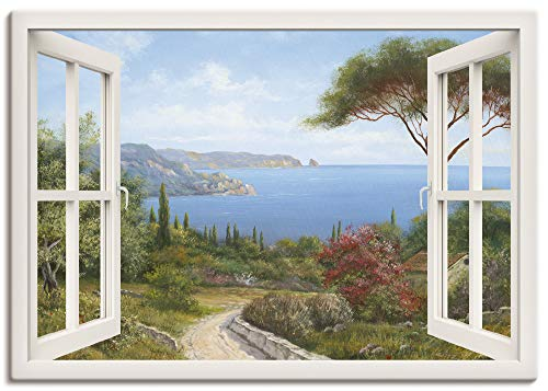 Artland Leinwandbild Wandbild Bild auf Leinwand 70x50 cm Wanddeko Fensterblick Fenster Küste Meer Bucht Landschaft Natur Malerei Kunst T4EF