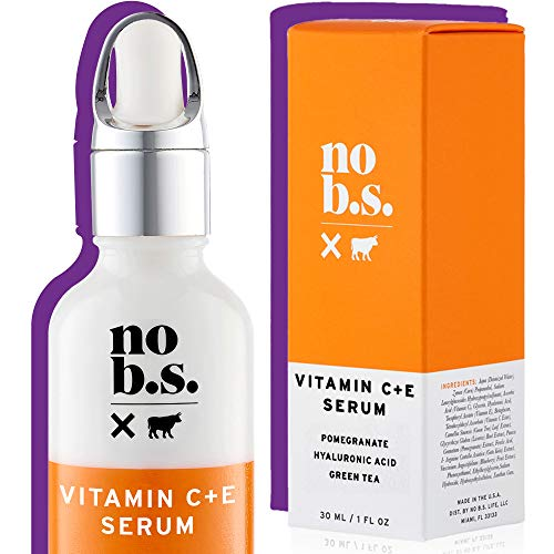 No B. S. Vitamin C Serum for Face with Vitamin E and Hyaluronic Acid, Vegan Skin Care with Gotu Kola and Ferulic Acid, Pure Vitamin C Serum for Clear Skin - No B.S. Skin Care