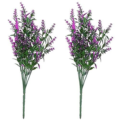 porfeet Flores artificiales de lavanda artificiales de plástico de imitación de ramo de flores para interiores y exteriores, decoración de la habitación, fiesta, boda, color rojo loto