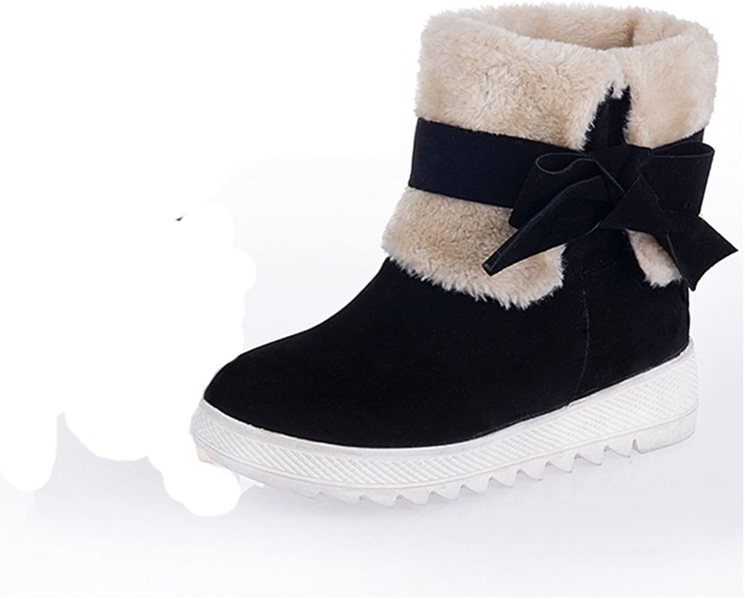 RHFDVGDS Cute student short tube in autumn and winter snow boots increased with bowknot short boots