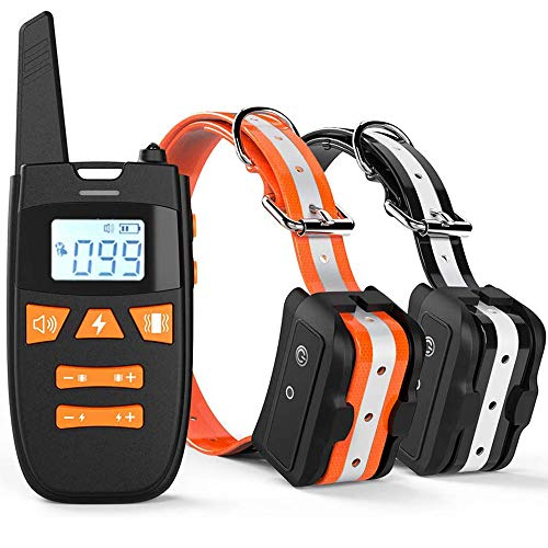 Haliluya Dog Training Collar - 100% Waterproof Rechargeable Training Collar Up to 2000Ft Remote Range with 3 Training Modes, Beep, Vibration and Shock, 0~99 Shock Levels Training Collar(2 Pack)