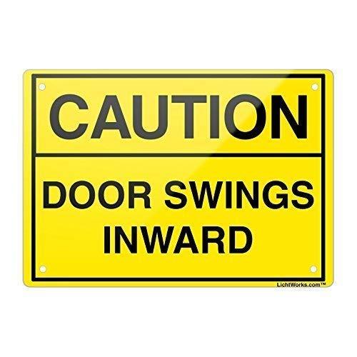 WENNUNA deur veiligheid aluminium metalen bord waarschuwing deur schommels naar binnen, 8x12 inch inch inch