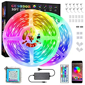 GUSODOR 15M Tiras LED Música Tiras de Luces Bluetooth RGB 5050 LED Iluminación Control de APP y de Control Remoto para l hogar, dormitorio, TV, cocina, escritorio, decoración de bar