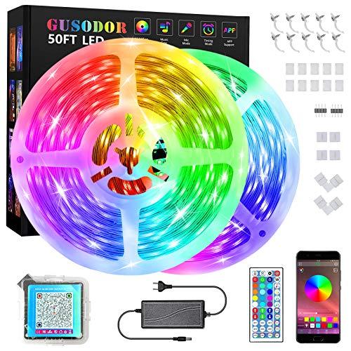 GUSODOR LED strip 15M,RGB LED Streifen 5050 Licht mit 44 Musik synchronen Farbwechsel Fernbedienung + APP Controller für Zuhause, Schlafzimmer, TV, Küche, Bar Dekoration