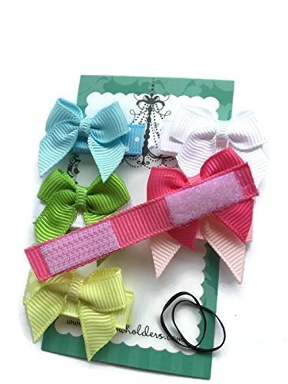 HAIR BOWS Made with VELCRO? brand fasteners for Baby Girl - BEST BABY SHOWER GIFT - Small Bows Traditional Mini Bows Blue White Green Yellow Hot Pink Light Pink