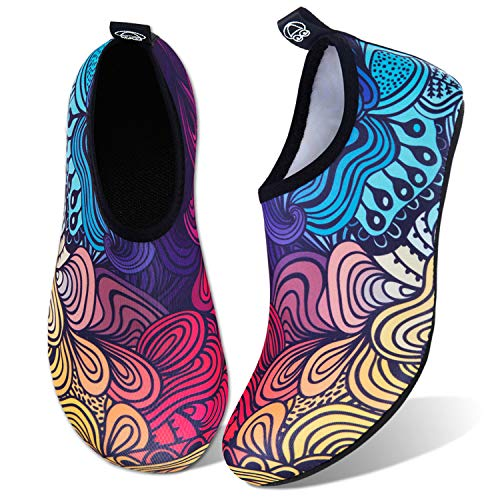 Water Shoes for Womens Mens Barefoot Quick-Dry Aqua Socks for Beach Swim Surf Yoga Exercise New Translucent Color Soles (Flower-Gradient, 38/39)