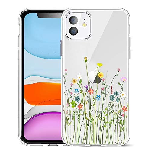 Unov Case Clear with Design for iPhone 11 Case Slim Protective Soft TPU Bumper Embossed Pattern Cover 6.1 Inch (Flower Bouquet)