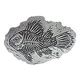MAODA Hebilla de cinturón de Metal Esqueleto de Pescado Retro Hueso de Pescado prehistórico Accesorios de Vaquero Occidental D