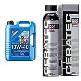 Liqui Moly 9505 Aceite De Motor, Super Leichtlauf, 10W-40, Booklet, 5 L + 3721 Cera Tec Aceite De Motor, Naranja, 300 Ml