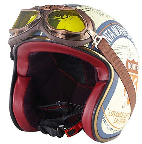 HSFJFDRT 3/4 Jet Motocicleta Cascos de Protección Casco de Moto de Cara Abierta Retro, ECE Certificación Unisex Bicicleta Scooter Medio Casco con Gafas L=59-60CM