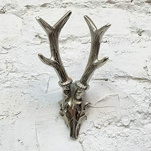 Antique Metal Reindeer Deer Stag Antlers Wall Art Mounted Head Bust Sculpture 21cm