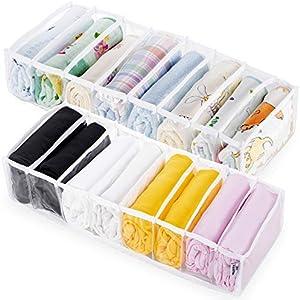 KOARBI Organizador de Cajones Transparente Flexible y Ajustable para Ropa Interior, Calcetines, Maquillaje, Baño, Ropa de Bebe, Escritorio, Armario, Divisor de Cajón Plegable. Pack x2