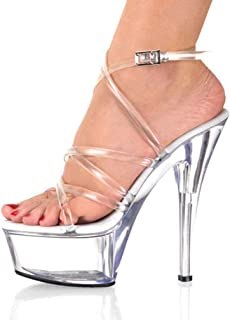 Womens Open Toe High Heel Sandal,Perspex Stilettos Sandals,Ladies Ankle Strap Platform High Heel Cleated Sandals Transparent Slingback Sandals