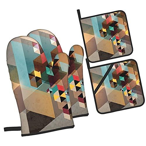Estructura Colorida en Pedazos Diseño gráfico dinámico Moderno Industrial Artíst,Juegos de Manoplas para Horno y Porta Ollas,4Pcs Impermeable Guantes Almohadillas para Cocina Cocinar Hornear B