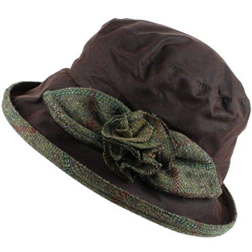Peak and Brim Dames Waterdichte waxbel hoed met tweed roos en rand