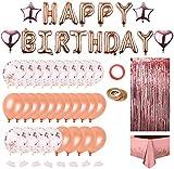 Globos De Cumpleaños Decoraciones de Fiesta de Cumpleaños Globos Oro Rosa Globo Feliz Cumpleaños con Globos de Confeti, Estrella y Corazón, Borlas Brillantes, para Mujer Chica