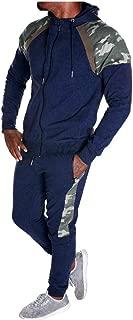 HEJANG Men's Tracksuit Patchwork Zipper Print Hoodies Sportswear Sweatshirt Sweatpants 2 Piece Track Suits Jacket Pants Set