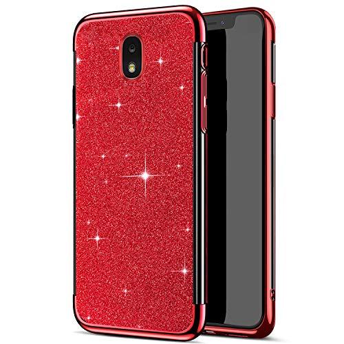 Funda Compatible con Samsung Galaxy J7 2018,Carcasa Case Transparente Glitter Brillante Brillo Chapado 2 en 1 TPU Silicona Ligero Ultrafino Cuerpo Completo Cubierta Protectora Anti-Shock Bumper,Rojo