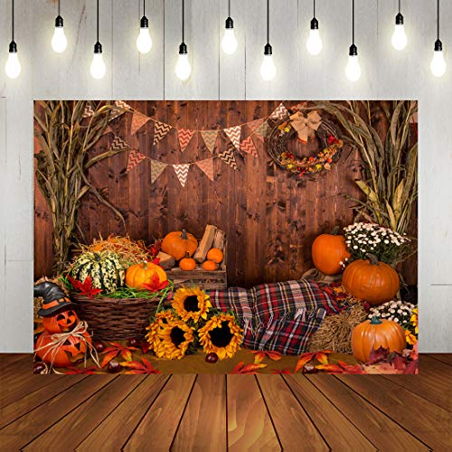 Fall Thanksgiving Day Theme Backdrops Autumn Harvest Photography Background Rustic Wooden Floor Farm Pumpkins Sunflowers Flag for Birthday Party Banner Photo Booth Props 7x5ft