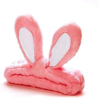 Orecchio di coniglio Fascia per capelli Arco morbido Trucco coniglietto Glabro Elastico Peluche Avvolgere la testa del vis...