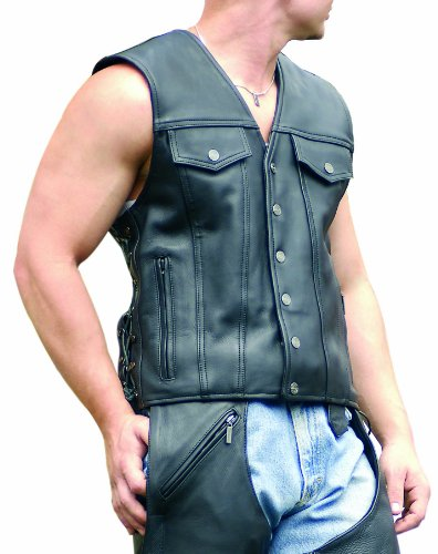Big Sale Milwaukee Motorcycle Clothing Company Men's Gambler Vest (Black, XXXX-Large)
