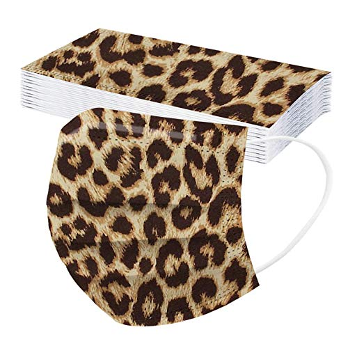 Koippimel 50Pcs, Leopard Disposable Face_Mask for Adults, Fashion Print Breathable_Masks, 3-Layers High Filtration Non-Woven for Women Men Full Protection, 1115 Style_178