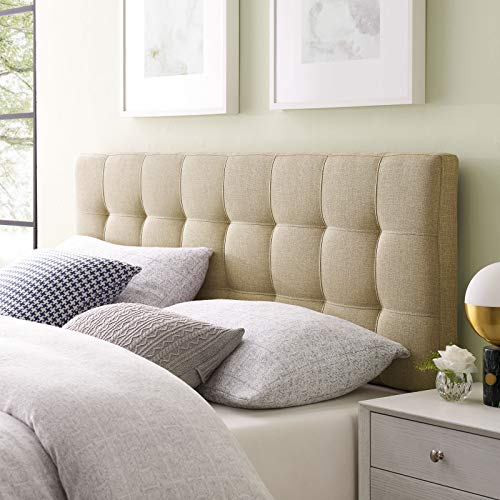 Modway Lily Upholstered Tufted Linen Fabric Queen Headboard Size In Beige