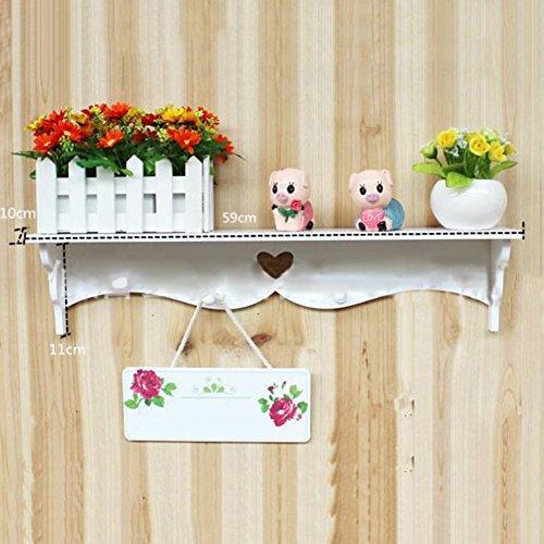 AIHOME, mensola da parete in legno con kit per assemblaggio, colore bianco, design elegante