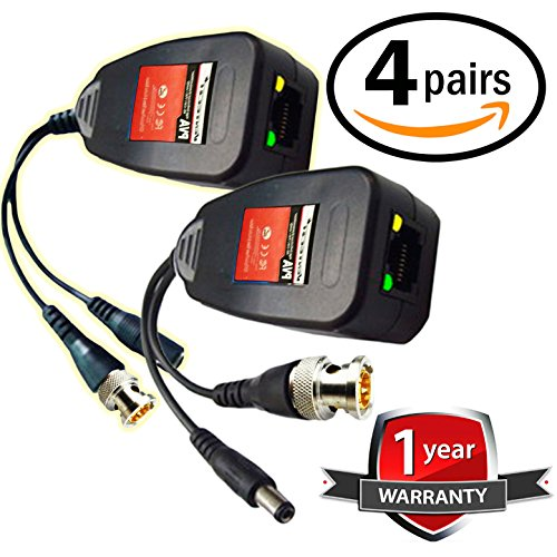 UTP balun hd Ventech cat5 to bnc Video baluns transceiver Passive with Power Connector Compatible with All CCTV Technologies(Analog AHD TVI CVI ntsc pal) 4 Pairs rj45 75 OHN connectors