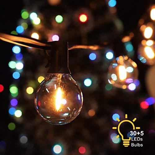 12M Lichterkette Außen, 30 Glühbirnen mit 5 Ersatzbirnen, BSLED G40 LED Garten Lichterkette, Wasserdichte Innen und Außen Deko Warmweiß Lichterketten für Party, Hochzeit, Weihnachten, Garten, Feier