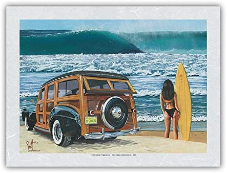 U 正規取扱店 Go Girl アウトレット☆送料無料 - Retro Woodie Car from Surfer with on Beach an