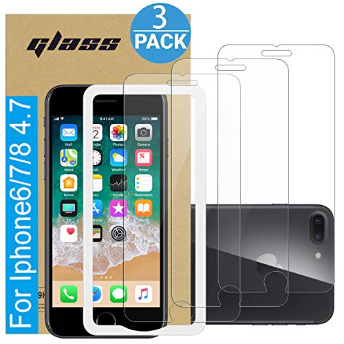 Amuoc Compatible with iPhone 7/7S Screen Protector | iPhone 8/8S Screen Protector |iPhone 6/6S Screen Protector, Tempered Glass Film for Apple iPhone 6/7 /8/6S/7S/8S 3-Pack Clear